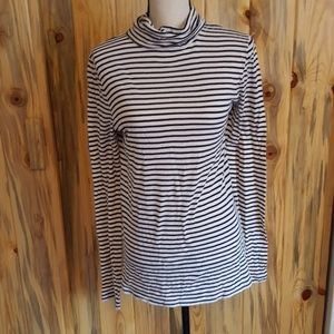 J.Crew navy and white striped turtle neck
